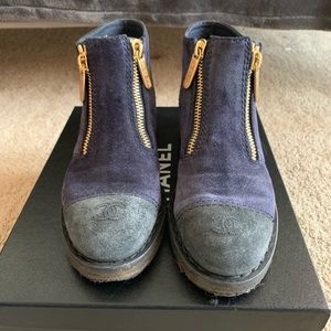 Chanel Navy And black shirt suede boots